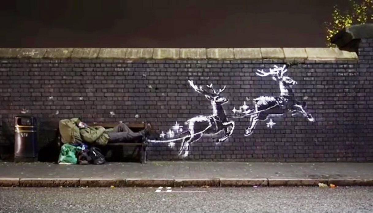 Il Babbo Natale clochard di Banksy